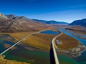 Beautiful mountains with oil pipeline, Alaska, USA