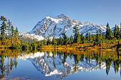 Beautiful Mt. Shuksan Reflecting on Picture Lake,washington state
