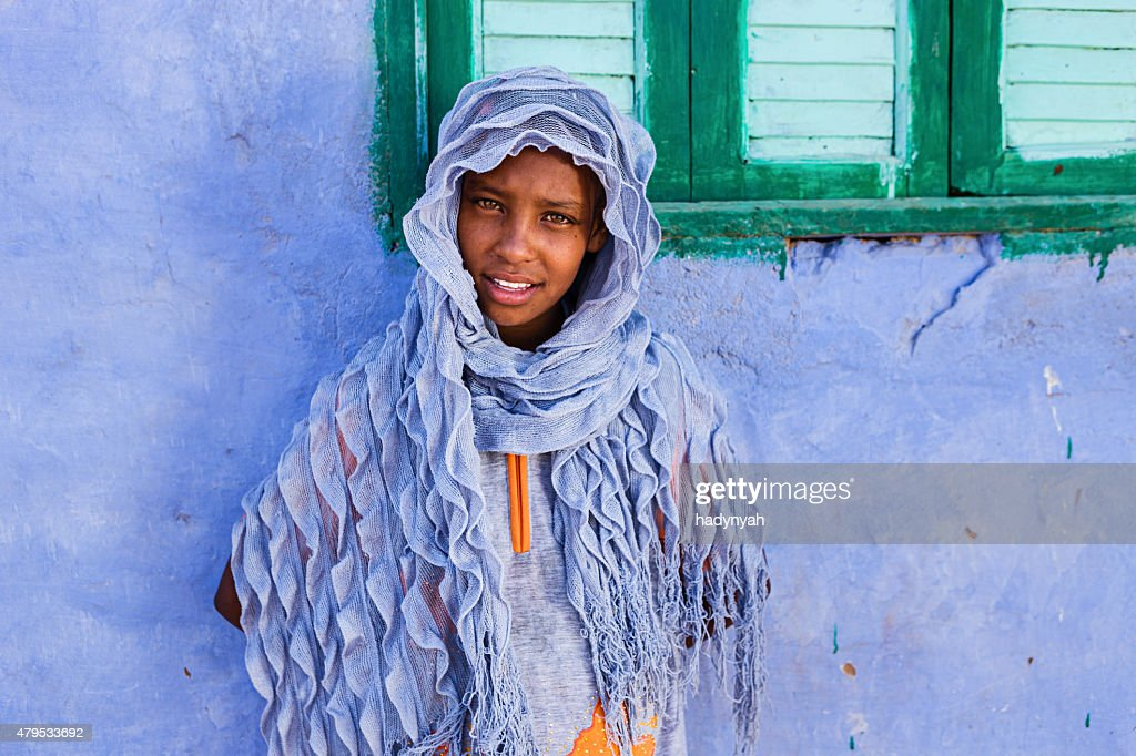 Beautiful Muslim girl in Southern Egypt : Stock Photo