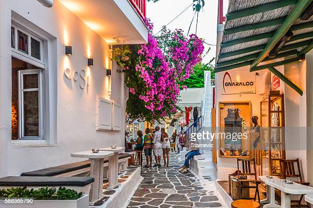 Beautiful Mykonos Town in the evening