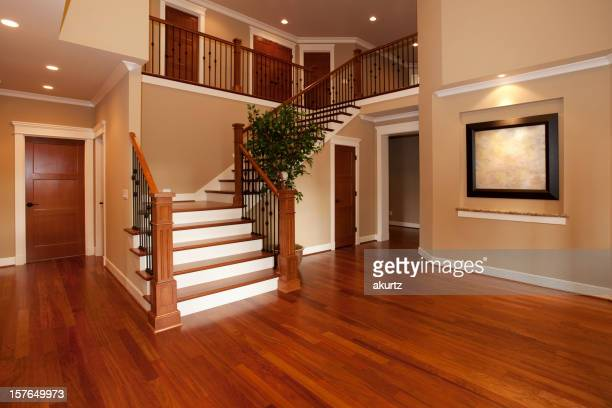 Beautiful new home interior hardwood floors and huge staircase
