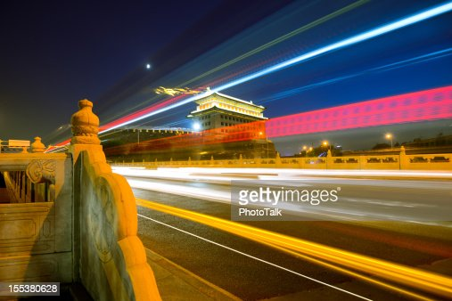 Beautiful Night and Light Trail of Beijing, China