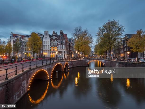 Beautiful night cityscape in Amsterdam, Netherlands.