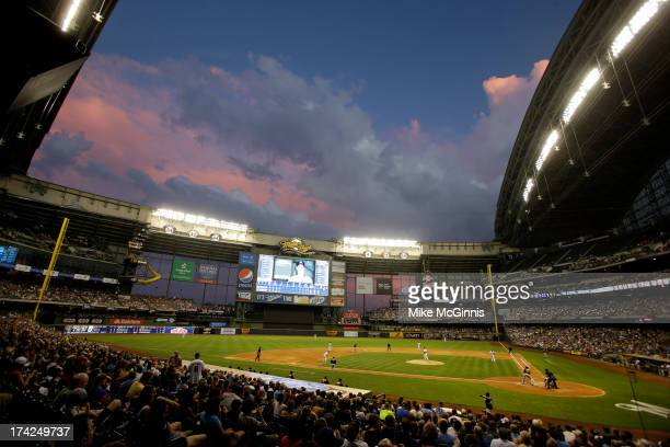 A beautiful night for a baseball game between the Milwaukee Brewers and the Miami Marlins at Miller Park on July 19 2013 in Milwaukee Wisconsin