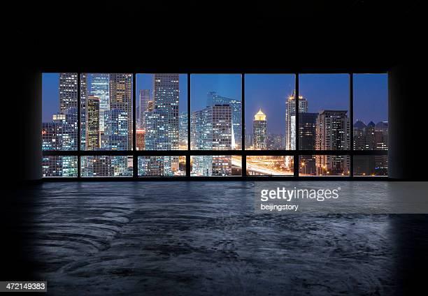 美しい夜景窓の外で