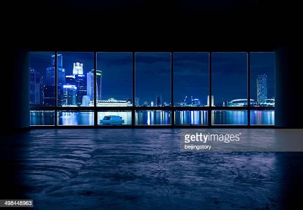 beautiful night scene outside the windows-singapore