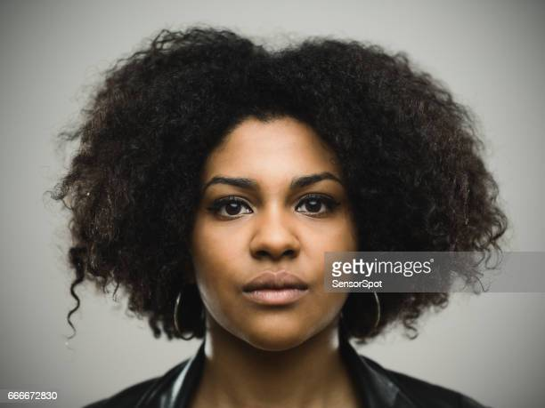Beautiful north american woman with curly hair