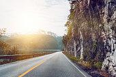 "beautiful norwegian road along the fjord, norway""n"