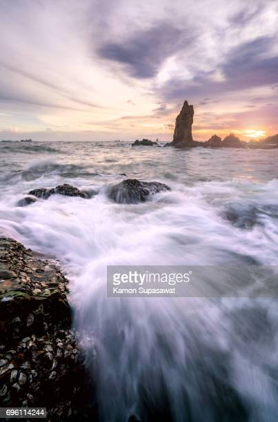 Beautiful of tidal wave/surge attack to stone on beach