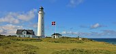 Scene in north Jylland. Beautiful old lighthouse in Hirtshals, Denmark.