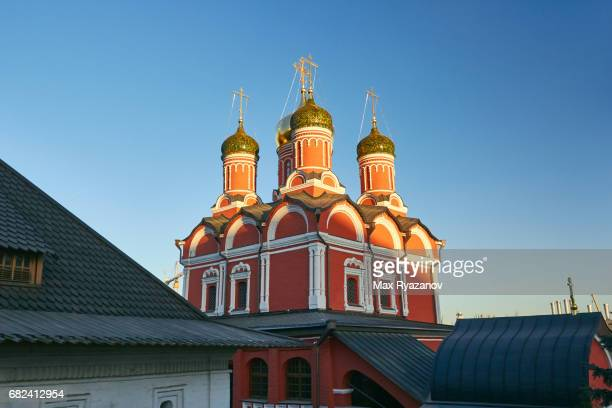 Beautiful old Orthodox church in the center of Moscow at sunset