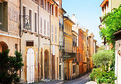 old town street of Aix en Provence, France, retro toned