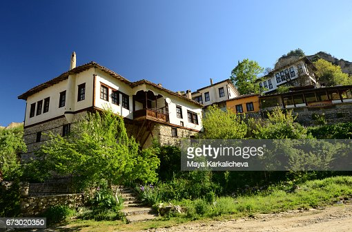 Old Fashioned Houses beautiful oldfashioned houses in the town of melnik stock photo