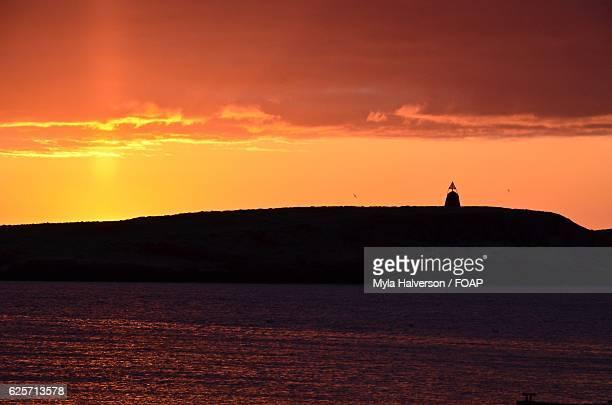 Beautiful orange sunset over breidafjordur