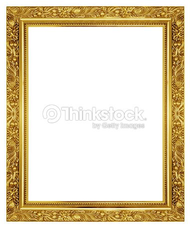 Beautiful Ornamented Golden Frame On White Background Stock Photo ...