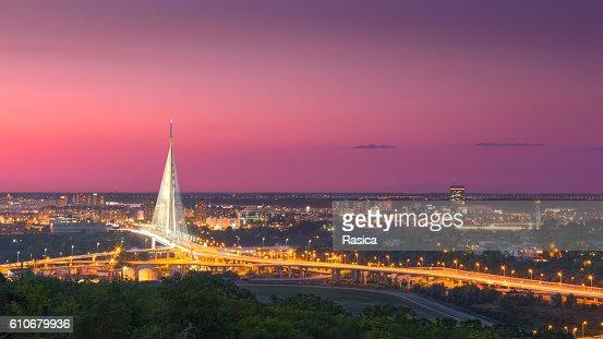 Beautiful panorama of Belgrade town at dusk : Stock Photo