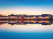 Beautiful panoramic sunset view over The Claddagh Galway in Galway city, Ireland