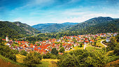 Beautiful panoramic view of the village Langenbrand in the mountains of Schwarzwald.Black Forest. Germany. Toned.