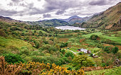 Beautiful Panoramic view of chain of National Park Snowdonia in North Wales of the United Kingdom. Snowdonia is a mountain range and a region in North of Wales.