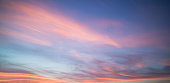 Beautiful pastel cloudy sunset with blue sky in California