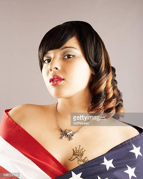 Beautiful Patriotic Young Woman
