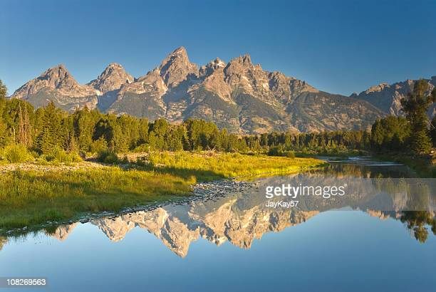 Beautiful peaceful lake and mountains in Grand Tetons