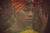 Beautiful.  African American woman in the park.