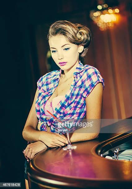 Beautiful Pin Up girl at the nightclub