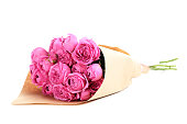 Beautiful pink roses isolated on a white