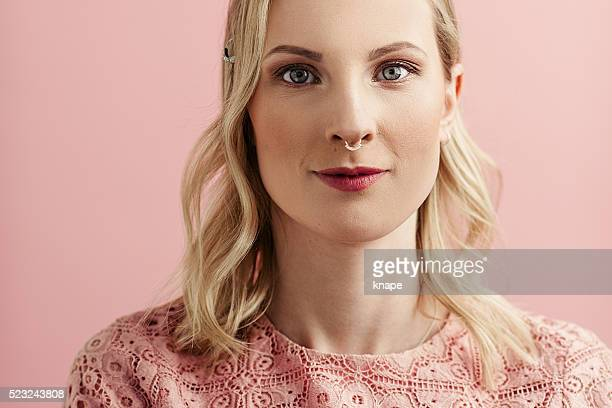 Beautiful pink woman portrait