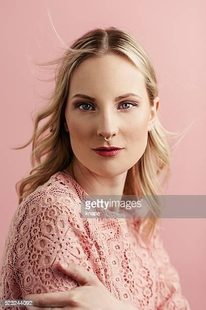 Beautiful pink woman portrait