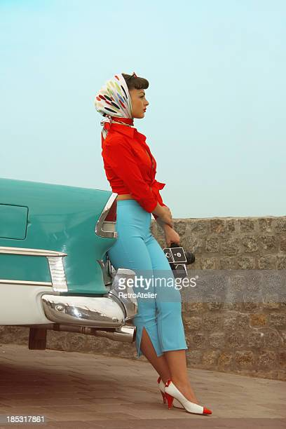 Beautiful Pin-Up Girl  Near The Vintage Car