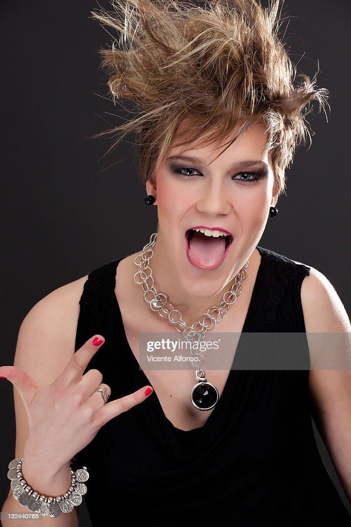 Beautiful punk woman : Stock Photo
