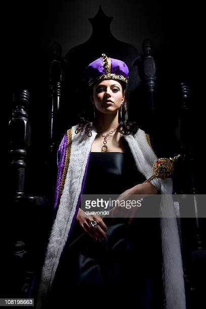 Black Throne with Beautiful Queen Holding Scepter