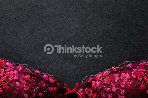 456fe9a11 Beautiful Red Lace Bra On Black Background Women Sexy Underwear ...