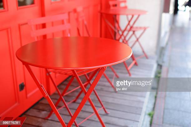Beautiful red table set of cafe.