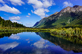 Image reflected in water or Mirror Lake, Milford Sound New Zealand