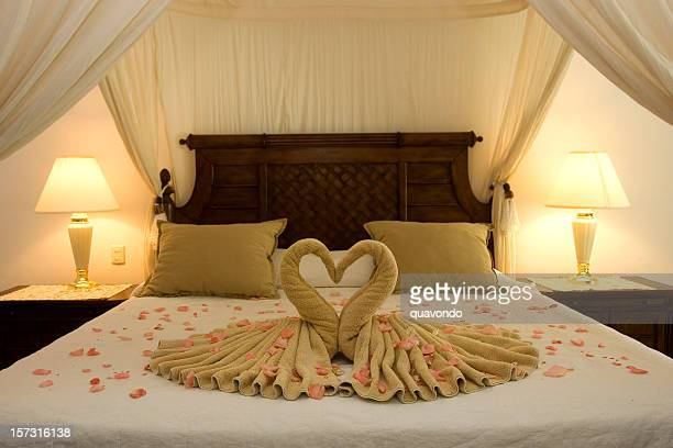 Beautiful Romantic Honeymoon Hotel Suite, Empty, Copy Space