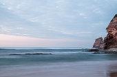 beautiful sandy beach on atlantic coastline in sunset, hendaye, basque country, france