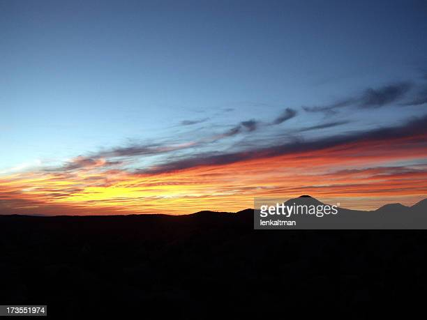 A beautiful Santa Fe sunset with silhouette of the mountains