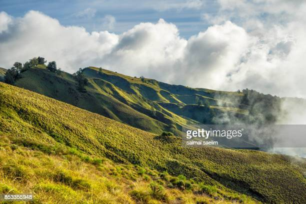 Beautiful scenery of Senaru crater rim at sunrise, Rinjani volcano mountain, Lombok island, Indonesia