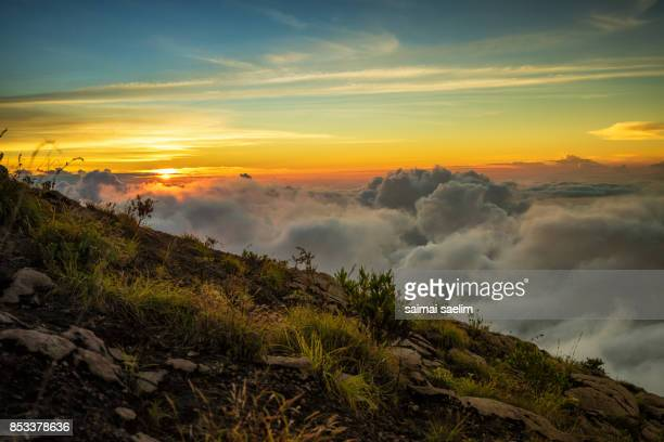 Beautiful scenery of Senaru crater rim at sunset, Rinjani volcano mountain, Lombok island, Indonesia