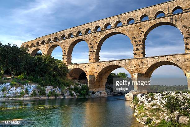 Beautiful scenery view of Pont Du Gard, France