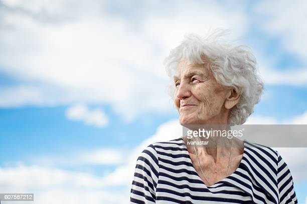 Beautiful Senior Woman Portrait Happy Dreamy Expression