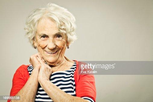 Beautiful senior woman smiling at camera