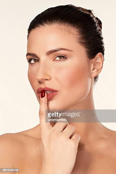Beautiful sensual lips    Beauty  Dynamic women  Finger on lips