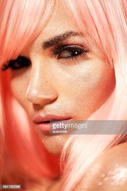 Wunderschöne Sexy Model Nahaufnahme des Make-Up-Porträt mit Glitzer