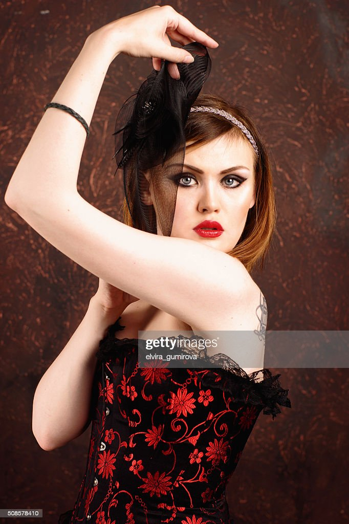 beautiful sexy girl in the corset in vintage style : Stock Photo