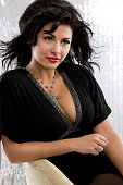 Beautiful, Sexy Hispanic Young Woman Model Posing in Chair