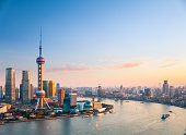 beautiful shanghai in sunset, one of the most attractive cities in China